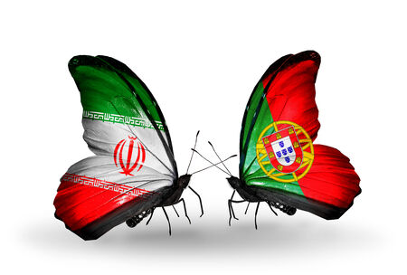 Two butterflies with flags on wings as symbol of relations Iran and Portugal photo