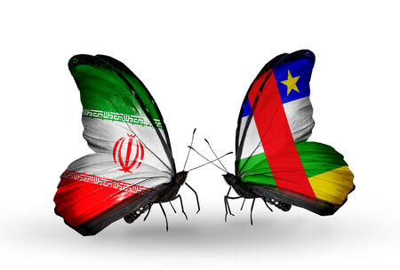 Two butterflies with flags on wings as symbol of relations Iran and Central African Republic photo