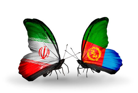 Two butterflies with flags on wings as symbol of relations Iran and Eritrea photo