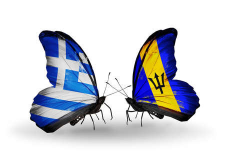 Two butterflies with flags on wings as symbol of relations Greece and Barbados photo