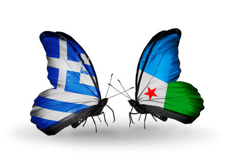 Two butterflies with flags on wings as symbol of relations Greece and Djibouti photo