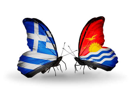 Two butterflies with flags on wings as symbol of relations Greece and Kiribati photo
