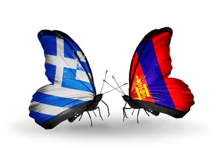 Two butterflies with flags on wings as symbol of relations Greece and Mongolia photo