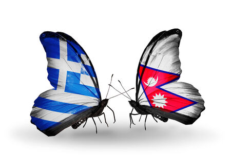 Two butterflies with flags on wings as symbol of relations Greece and Nepal photo