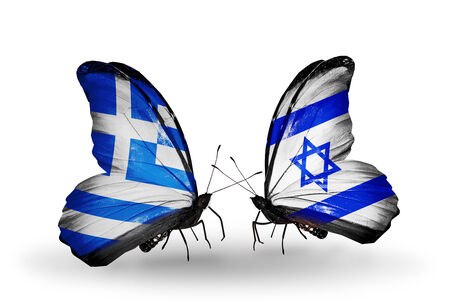 Two butterflies with flags on wings as symbol of relations Greece and Israel photo