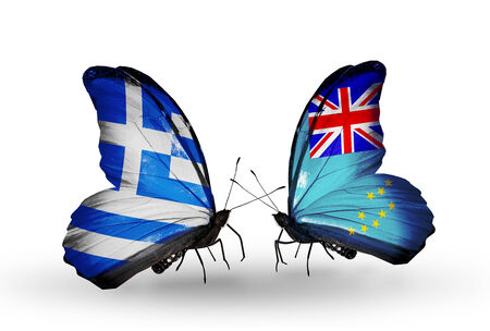 Two butterflies with flags on wings as symbol of relations Greece and Tuvalu photo