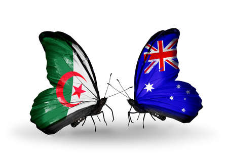 algerian flag: Two butterflies with flags on wings as symbol of relations Algeria and Australia Stock Photo
