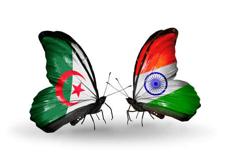 algerian flag: Two butterflies with flags on wings as symbol of relations Algeria and India Stock Photo