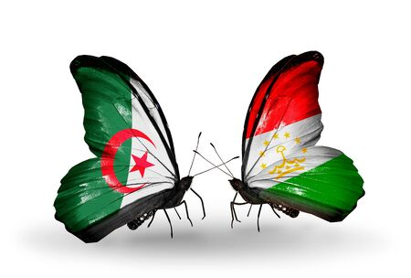 algerian flag: Two butterflies with flags on wings as symbol of relations Algeria and Tajikistan