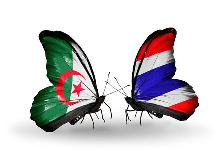 algerian flag: Two butterflies with flags on wings as symbol of relations Algeria and Thailand
