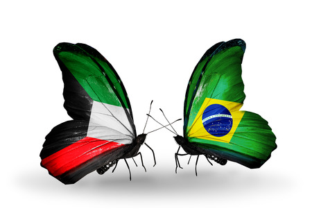 Two butterflies with flags on wings as symbol of relations Kuwait and Brazil photo