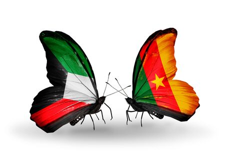 Two butterflies with flags on wings as symbol of relations Kuwait and Cameroon photo
