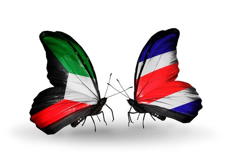 Two butterflies with flags on wings as symbol of relations Kuwait and Costa Rica photo