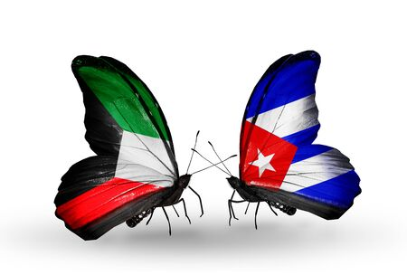 Two butterflies with flags on wings as symbol of relations Kuwait and Cuba