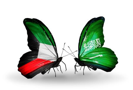 Two butterflies with flags on wings as symbol of relations Kuwait and Saudi Arabia photo