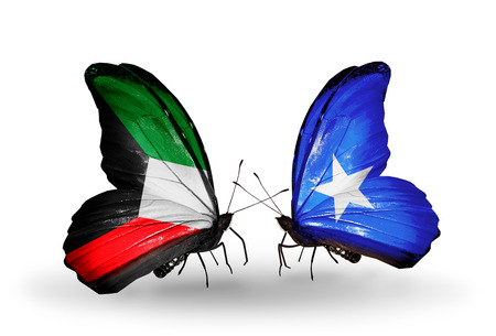 Two butterflies with flags on wings as symbol of relations Kuwait and Somalia photo