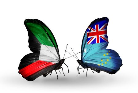 Two butterflies with flags on wings as symbol of relations Kuwait and Tuvalu photo