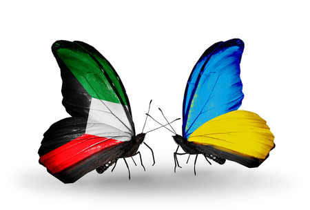 Two butterflies with flags on wings as symbol of relations Kuwait and Ukraine photo
