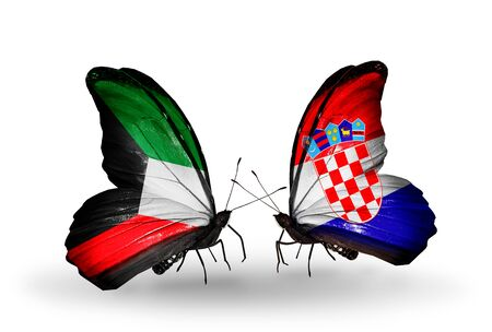 Two butterflies with flags on wings as symbol of relations Kuwait and Croatia photo