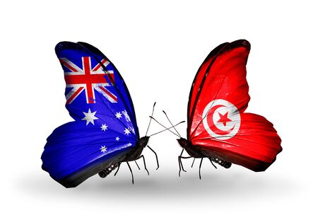 Two butterflies with flags on wings as symbol of relations Australia and Tunisia photo