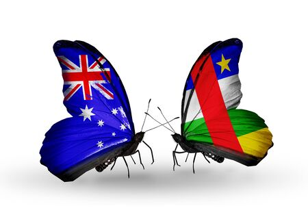 african solidarity: Two butterflies with flags on wings as symbol of relations Australia and Central African Republic