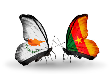 Two butterflies with flags on wings as symbol of relations Cyprus and Cameroon photo