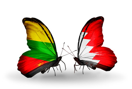 Two butterflies with flags on wings as symbol of relations Lithuania and Bahrain photo