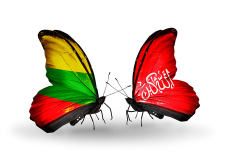 Two butterflies with flags on wings as symbol of relations Lithuania and Waziristan photo