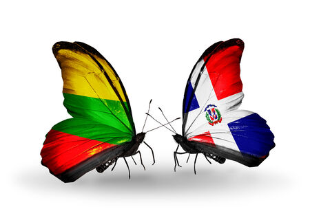Two butterflies with flags on wings as symbol of relations Lithuania and Dominicana photo