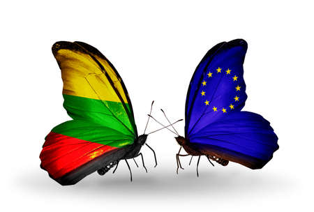 lithuanian: Two butterflies with flags on wings as symbol of relations Lithuania and European Union Stock Photo