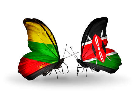 Two butterflies with flags on wings as symbol of relations Lithuania and Kenya photo