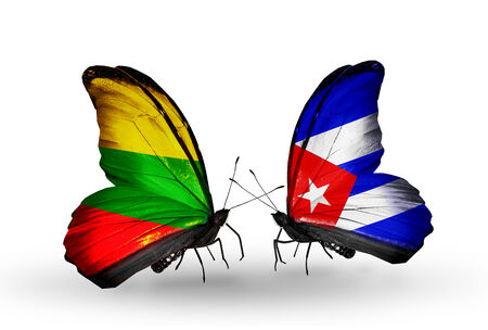 Two butterflies with flags on wings as symbol of relations Lithuania and Cuba
