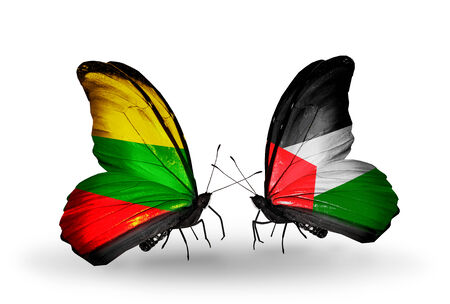 Two butterflies with flags on wings as symbol of relations Lithuania and Palestine photo