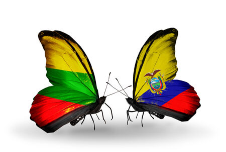 Two butterflies with flags on wings as symbol of relations Lithuania and Ecuador photo