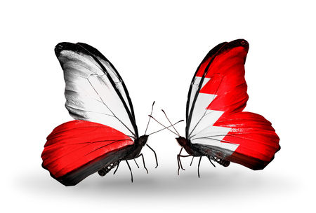 bahrain money: Two butterflies with flags on wings as symbol of relations Poland and Bahrain