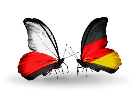 Two butterflies with flags on wings as symbol of relations Poland and Germany