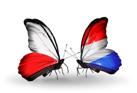 Two butterflies with flags on wings as symbol of relations Poland and Luxembourg photo