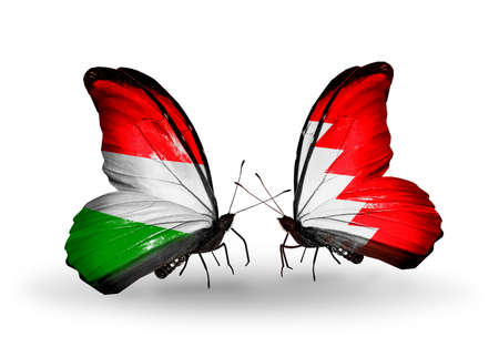 bahrain money: Two butterflies with flags on wings as symbol of relations Hungary and Bahrain
