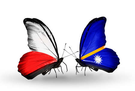 nauru: Two butterflies with flags on wings as symbol of relations Poland and Nauru Stock Photo