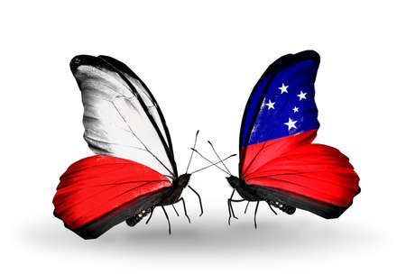 Two butterflies with flags on wings as symbol of relations Poland and Samoa photo