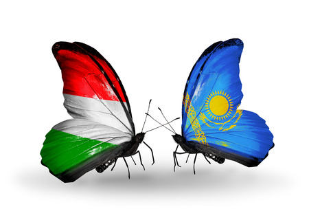 Two butterflies with flags on wings as symbol of relations Hungary and Kazakhstan photo