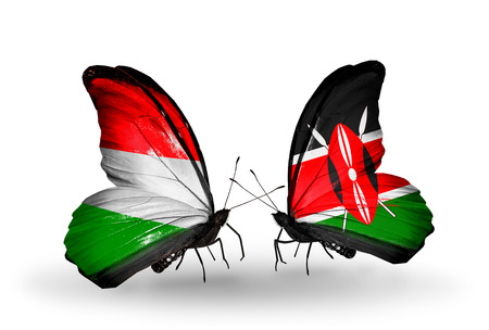 Two butterflies with flags on wings as symbol of relations Hungary and Kenya photo