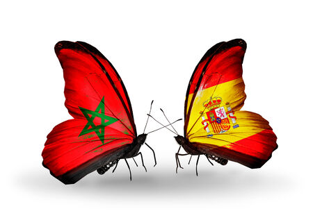 Two butterflies with flags on wings as symbol of relations Morocco and Spain photo