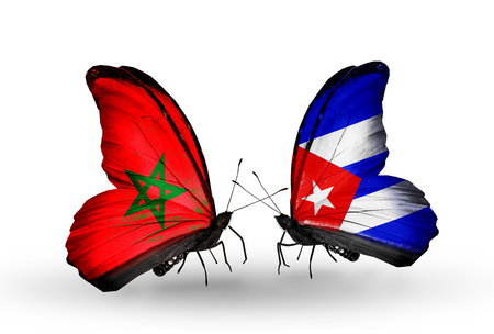 Two butterflies with flags on wings as symbol of relations Morocco and Cuba