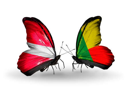 Two butterflies with flags on wings as symbol of relations Latvia and Benin photo