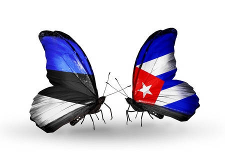 Two butterflies with flags on wings as symbol of relations Estonia and Cuba