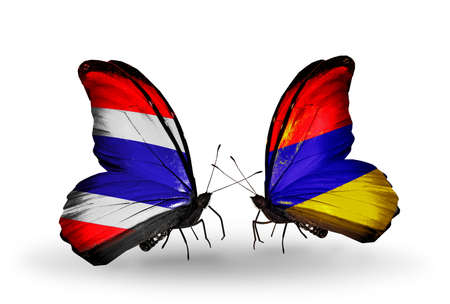 Two butterflies with flags on wings as symbol of relations Thailand and Armenia photo