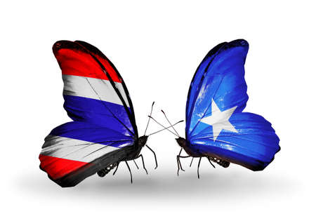 Two butterflies with flags on wings as symbol of relations Thailand and Somalia photo