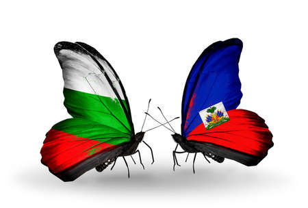 Two butterflies with flags on wings as symbol of relations Bulgaria and Haiti photo