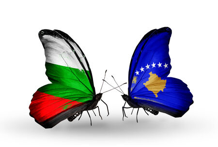 Two butterflies with flags on wings as symbol of relations Bulgaria and Kosovo photo
